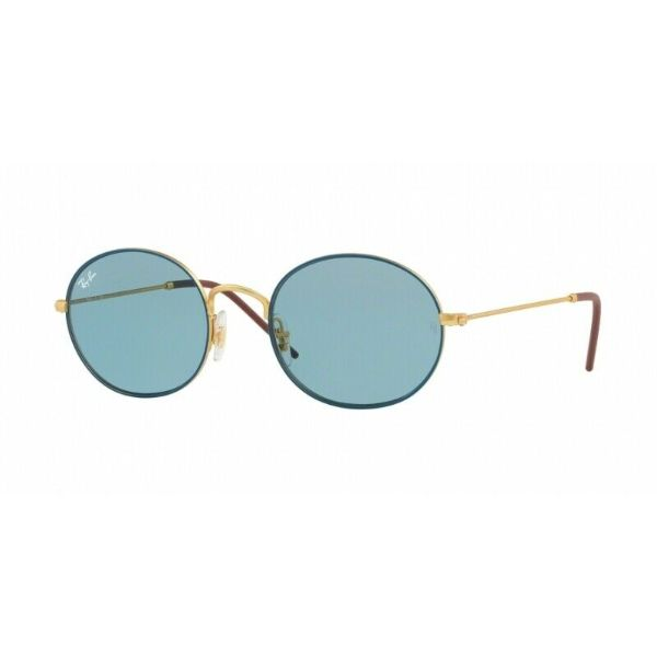 Daily Steals-Ray-Ban RB3594-9113F7-53 Beat Oval Sunlgasses Blue/Gold-Tone Light Blue Lenses-Sunglasses-