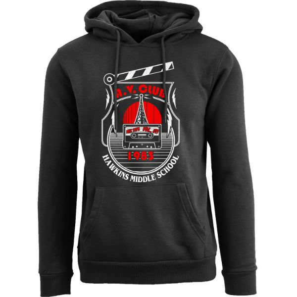 Women's Best of Stranger Things Hoodie-A. V. Club 1983 Hawkins Middle School - Black-S-Daily Steals
