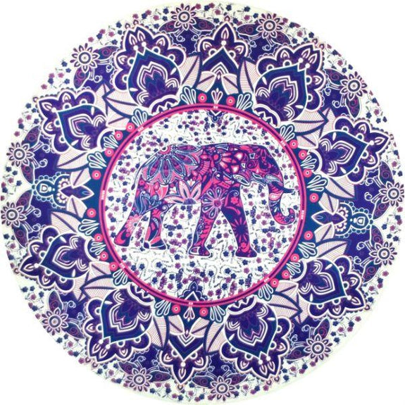 Round Printed Beach Blanket-Tibetan Elephant Print-Daily Steals