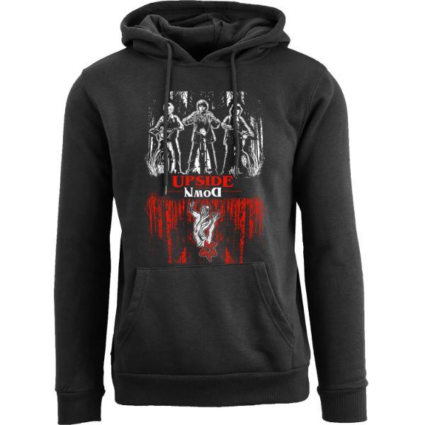 Women's Best of Stranger Things Hoodie-Upside Down Three Guys on the Bikes - Black-S-Daily Steals