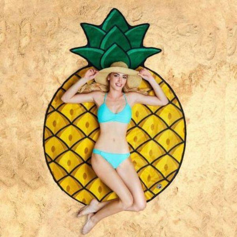 Daily Steals-Round Printed Beach Blanket-Outdoors and Tactical-Pineapple-
