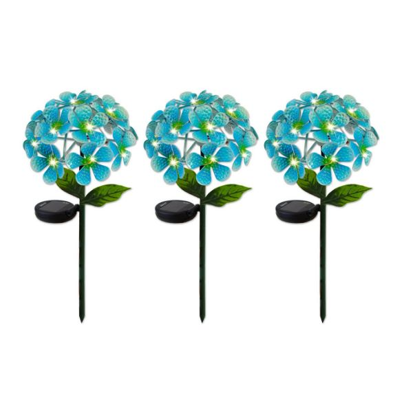 Solar LED Metal Flower Stake Lights - 1, 2, or 3 Pack-Blue-3-Pack-Daily Steals
