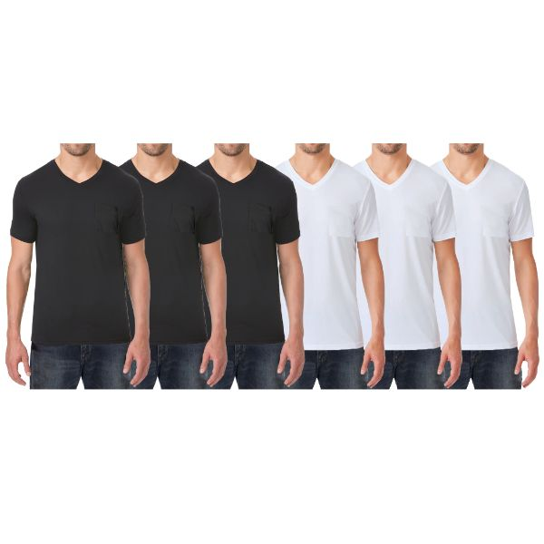 Men's Short Sleeve Slim-Fit V-Neck Tee With Chest Pocket - 6 Pack-3-Black & 3-White-Medium-Daily Steals