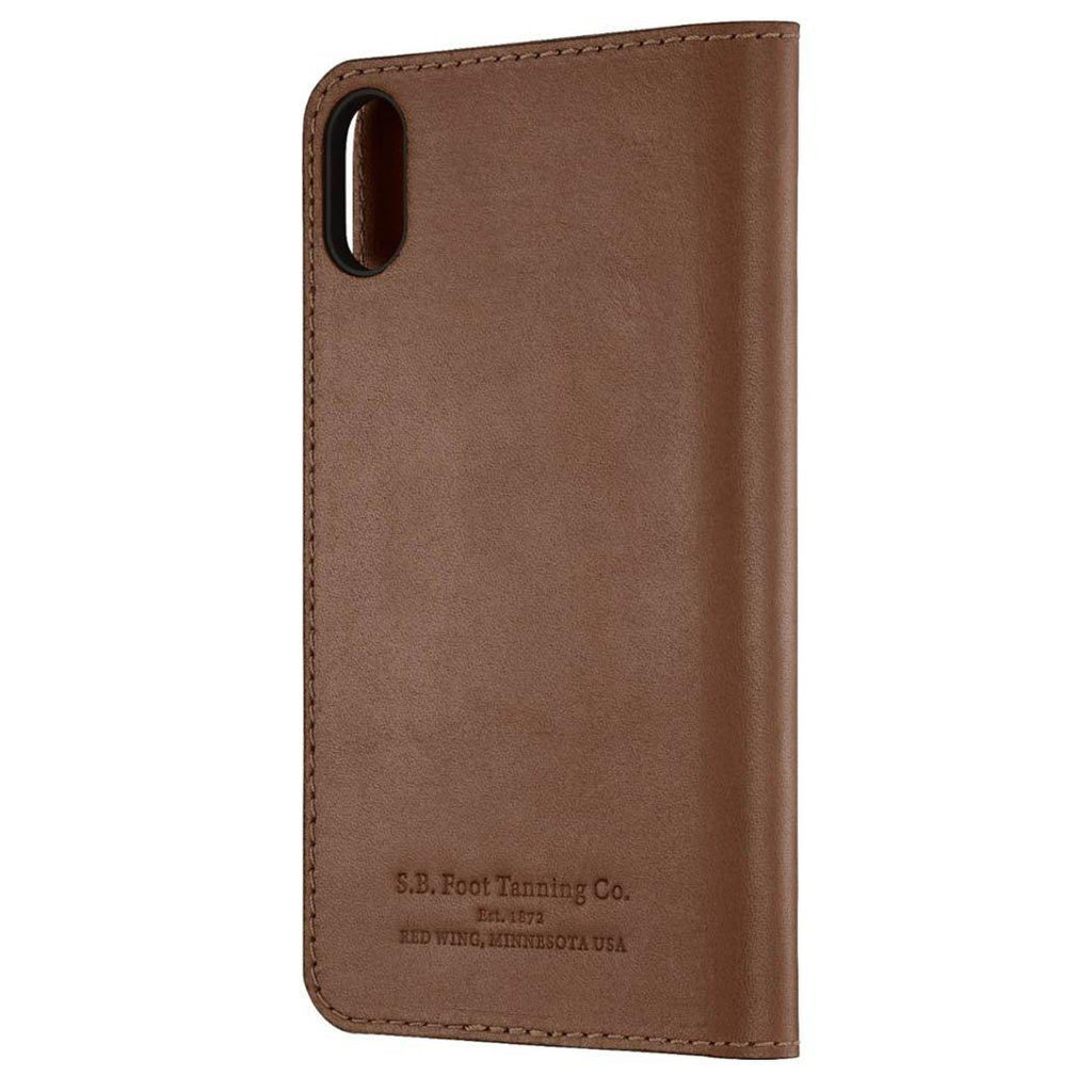 Platinum Genuine American Leather Folio Case for Apple iPhone X and XS-Bourbon-Daily Steals