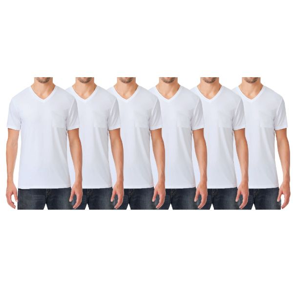 Men's Short Sleeve Slim-Fit V-Neck Tee With Chest Pocket - 6 Pack-6-White-Medium-Daily Steals
