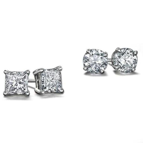 White Gold Plated Round and Princess Cut Stud Earrings - 2 Pack-Daily Steals