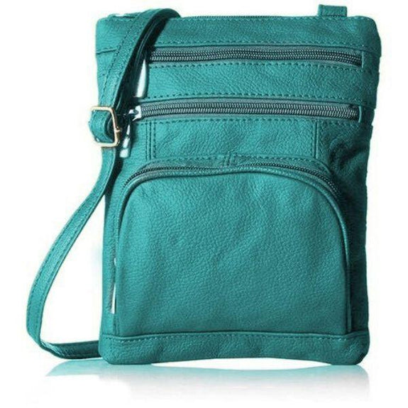 Daily Steals-Super Soft Leather Plus Size Crossbody Bag-Women's Accessories-Teal-