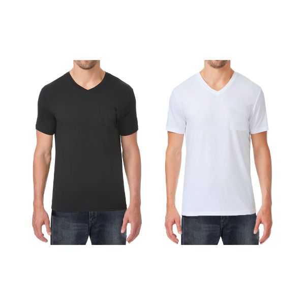 Daily Steals-Men's Short Sleeve Slim-Fit V-Neck Tee With Chest Pocket - 6 Pack-Men's Apparel-3-Black & 3-White-Medium-