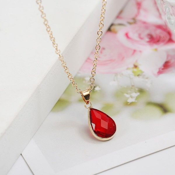 Cubic Zirconia Pear Shaped Necklace-Red-Daily Steals