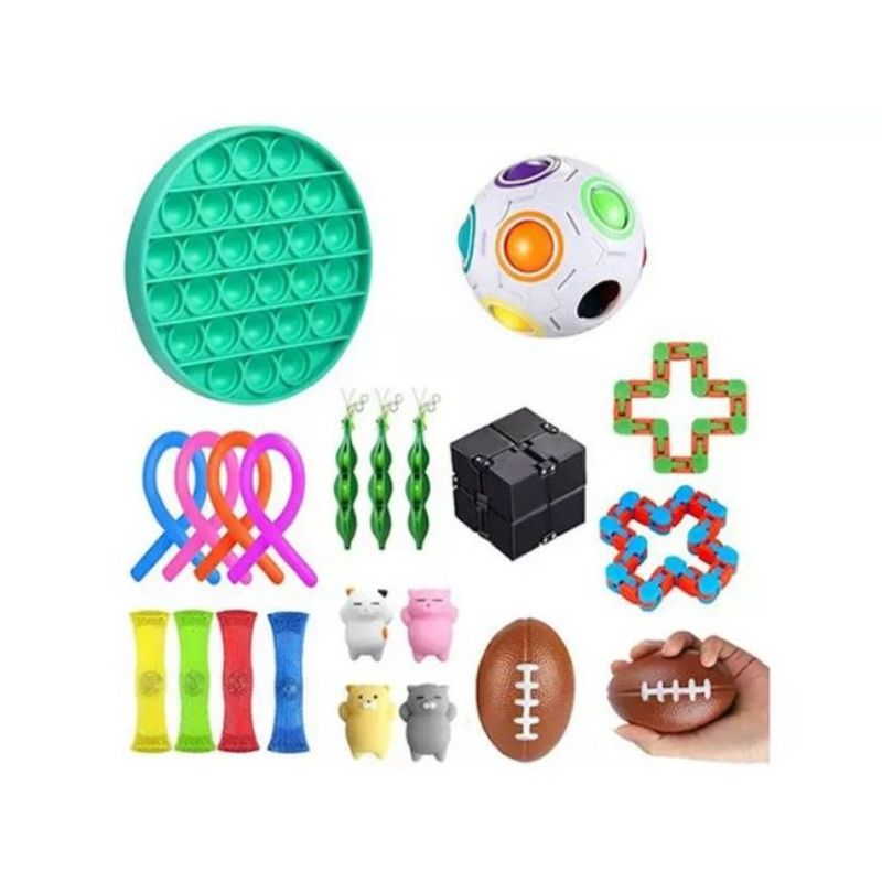 Fidget Stress Relief and Anti-Anxiety Toy Set - 22 Piece