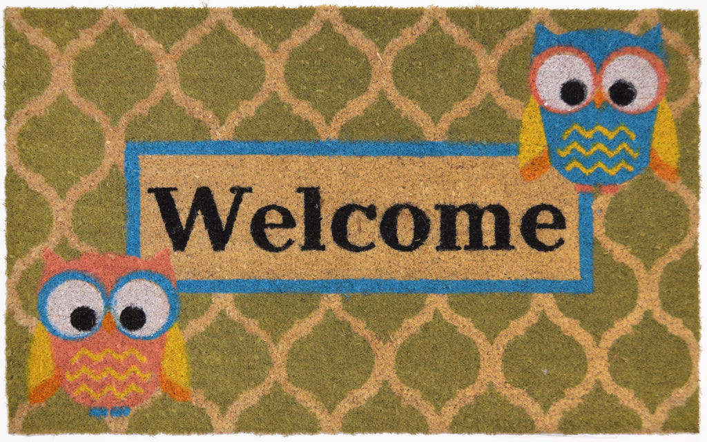 "18"" x 28"" Outdoor Printed Coir Mat-Bleached, Welcome Who-Daily Steals"