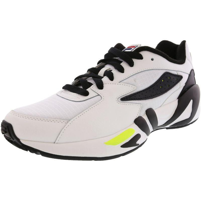 Fila Men's Mindblower SLV Athletic Sneakers White/Black/Soft Yellow-10-