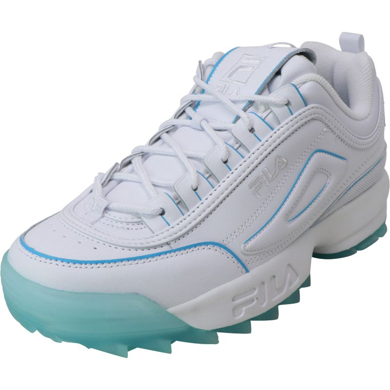 Fila Women's Disruptor Ii Ice White/Sea Ankle-High Leather Training Shoes - Size 10-Daily Steals