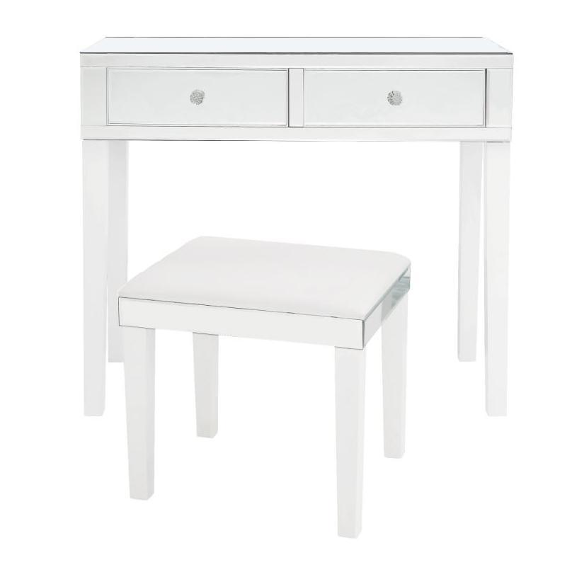 Milano Modern Contemporary Mirrored 2-Drawer Vanity Table with Stool Set-White-Daily Steals
