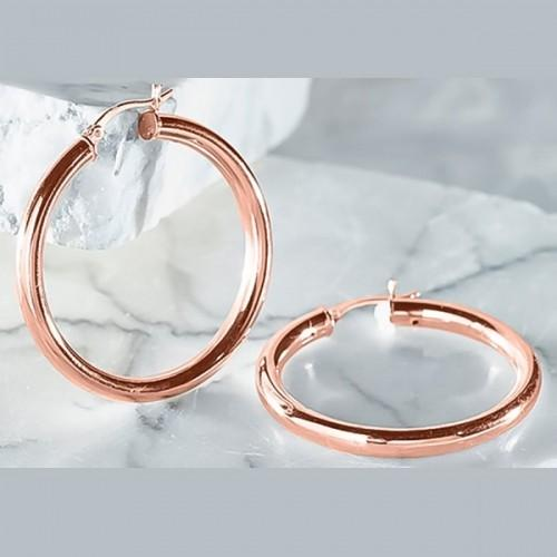Daily Steals-Fine Sterling Silver 20mm Rose French Lock Hoop Earrings-Jewelry-