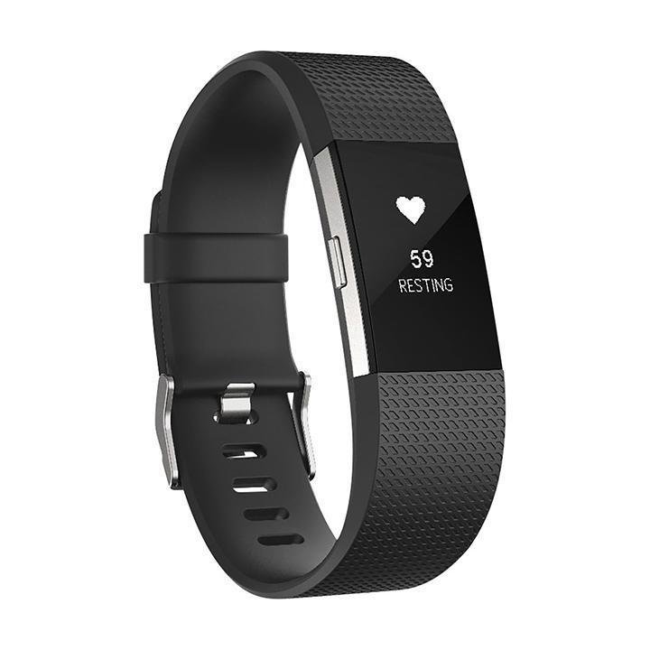 Daily Steals-Fitbit Charge 2 Activity Fitness Tracker with Heart Rate - Large - Black Silver-Fitness and Wellness-