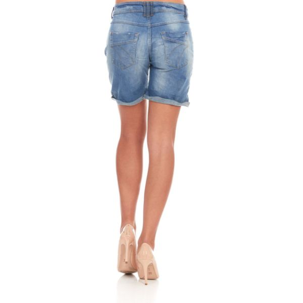 Women's Casual Stretchy Mid-Waist Blue Denim Bermuda Jean Shorts-Daily Steals