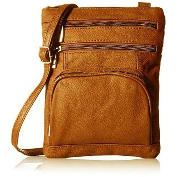 Daily Steals-Super Soft Leather Plus Size Crossbody Bag-Women's Accessories-Light Brown-