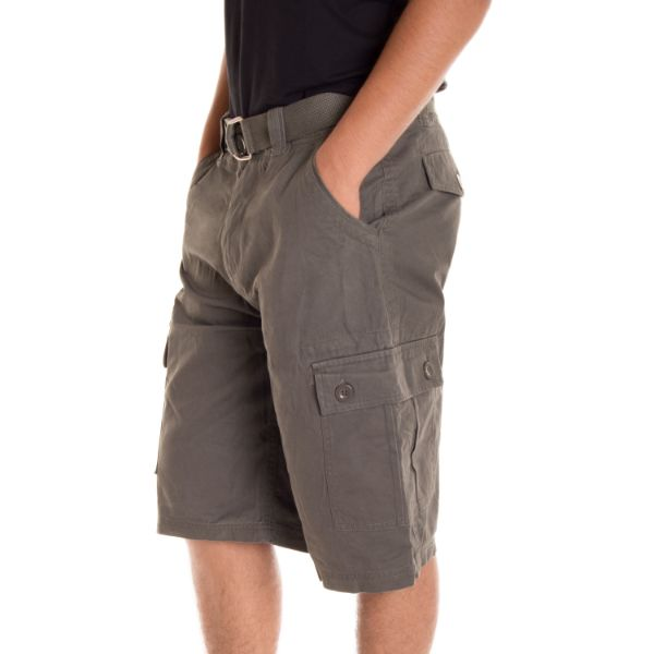 Alta Designer Fashion Men's Cargo Shorts, Twill Belt Included - Multiple Colors-Coffee-30-Daily Steals