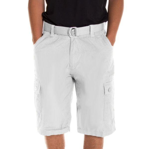 Alta Designer Fashion Men's Cargo Shorts, Twill Belt Included - Multiple Colors-White-30-Daily Steals