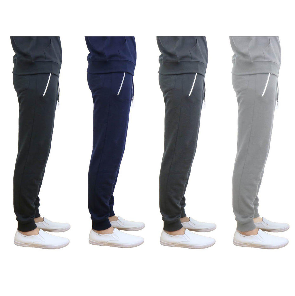 Daily Steals-Men's French Terry Joggers with Zipper Pockets-Men's Apparel-Black-Small-