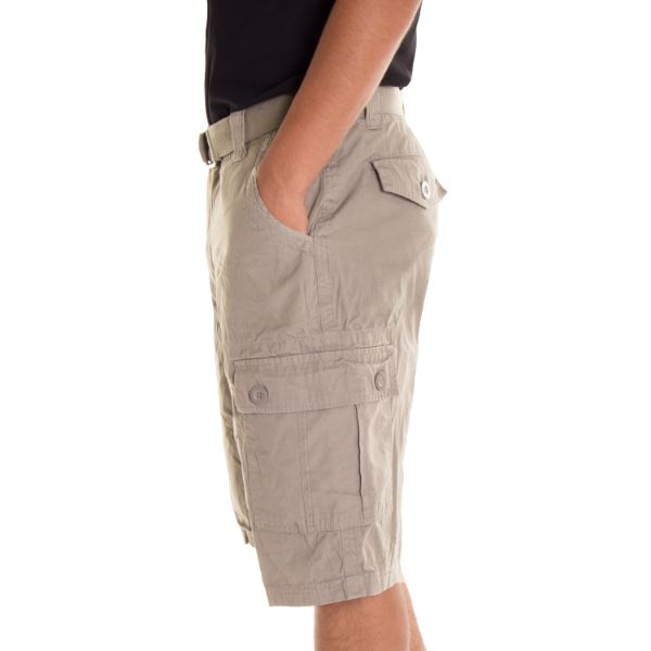 Daily Steals-Alta Designer Fashion Men's Cargo Shorts, Twill Belt Included - Multiple Colors-Men's Apparel-Khaki-30-