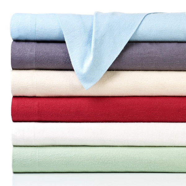 4-Piece Set: Bibb Home 100% Cotton Solid Flannel Sheets - Assorted Colors