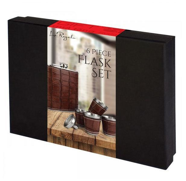Daily Steals-6-Piece Le Regalo Flask Set with Faux Leather Surface-Kitchen-