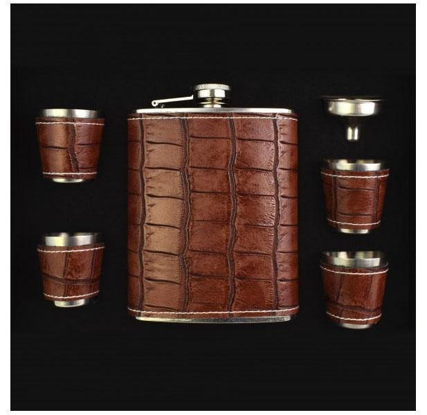 6-Piece Le Regalo Flask Set with Faux Leather Surface-Daily Steals