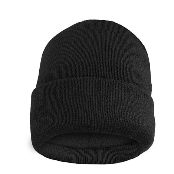 Fleece Lined Fold Over Thermal Winter Hat-Black-Daily Steals