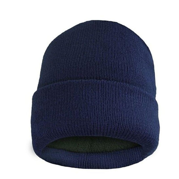 Fleece Lined Fold Over Thermal Winter Hat-Navy-Daily Steals