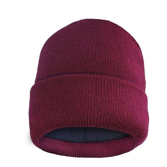 Fleece Lined Fold Over Thermal Winter Hat-Wine-Daily Steals