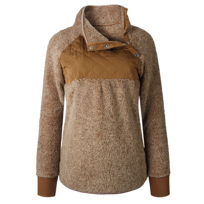 Asymmetrical Snap Fleece Pullover-Brown-Large-Daily Steals