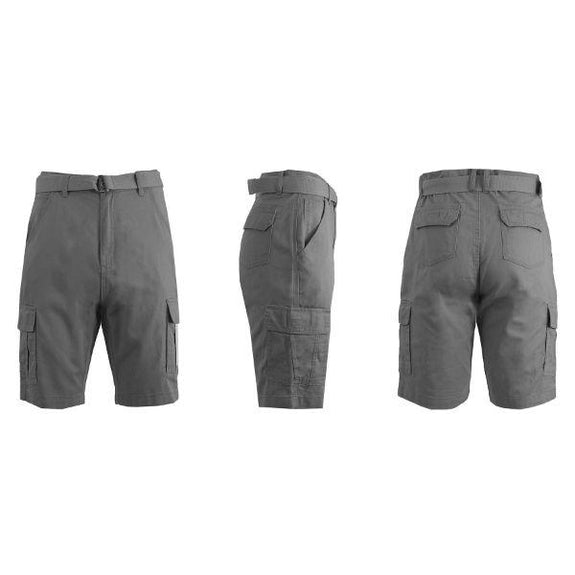 Men's Cotton Cargo Shorts with Tonal D-Ring Belt-Grey-30-Daily Steals