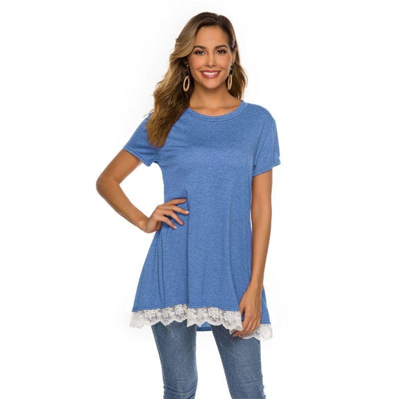 Women's Long Lace Trim Top by Lilly Posh-Light Blue-M-Daily Steals