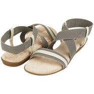 Floopi Womens Summer Flat Sandals Open Toe Elastic Ankle Strap Gladiator Sandal-Grey-10-