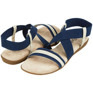 Floopi Womens Summer Flat Sandals Open Toe Elastic Ankle Strap Gladiator Sandal-Navy-7-