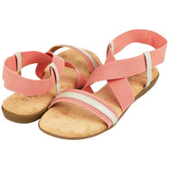 Floopi Womens Summer Flat Sandals Open Toe Elastic Ankle Strap Gladiator Sandal-Pink-10-