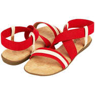 Floopi Womens Summer Flat Sandals Open Toe Elastic Ankle Strap Gladiator Sandal-Red-11-