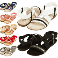 Floopi Womens Summer Flat Sandals Open Toe Elastic Ankle Strap Gladiator Sandal-Beige-10-