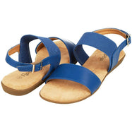 Floopi Womens Summer Flat Sandals Open Toe Elastic Buckle Ankle Strap Sandal-Navy-6-