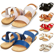 Floopi Womens Summer Flat Sandals Open Toe Elastic Buckle Ankle Strap Sandal-Black-10-