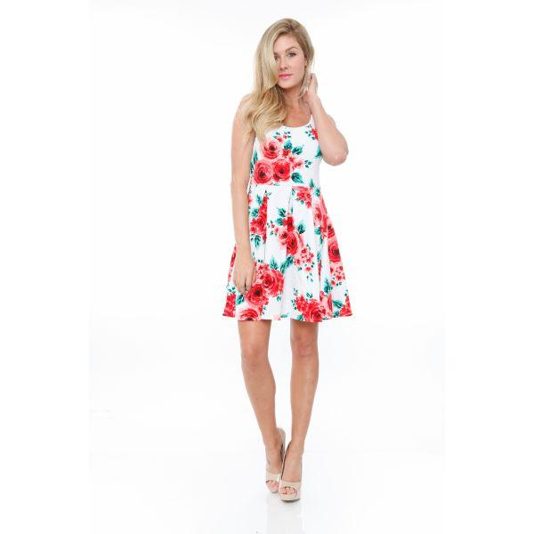 Daily Steals-Floral Crystal Dress-Women's Apparel-Red Flowers-S-