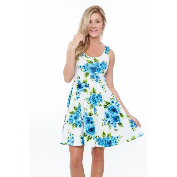 Daily Steals-Floral Crystal Dress-Women's Apparel-Blue Flowers-S-