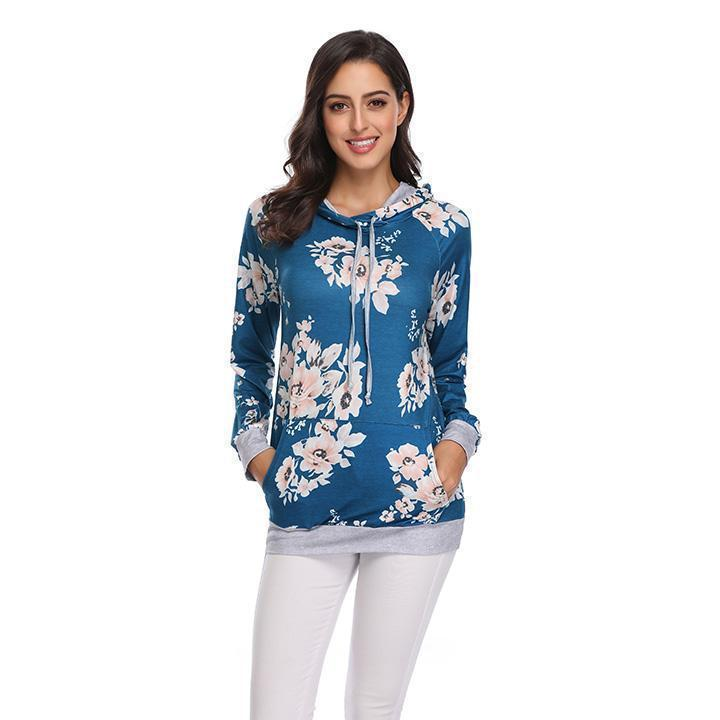 Daily Steals-Floral Hoodie-Women's Apparel-Blue-L-