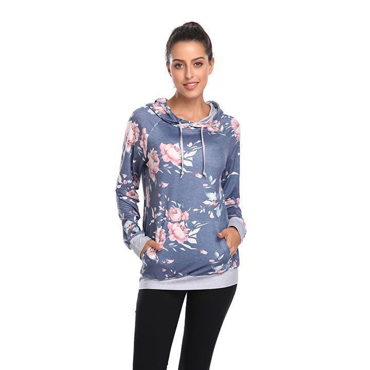 Daily Steals-Floral Hoodie-Women's Apparel-Medium Blue-L-