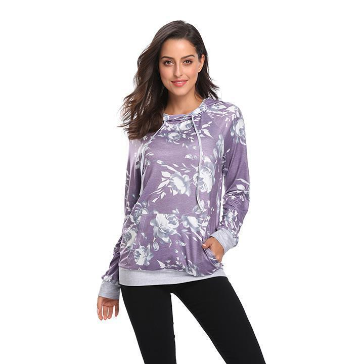 Daily Steals-Floral Hoodie-Women's Apparel-Purple-L-