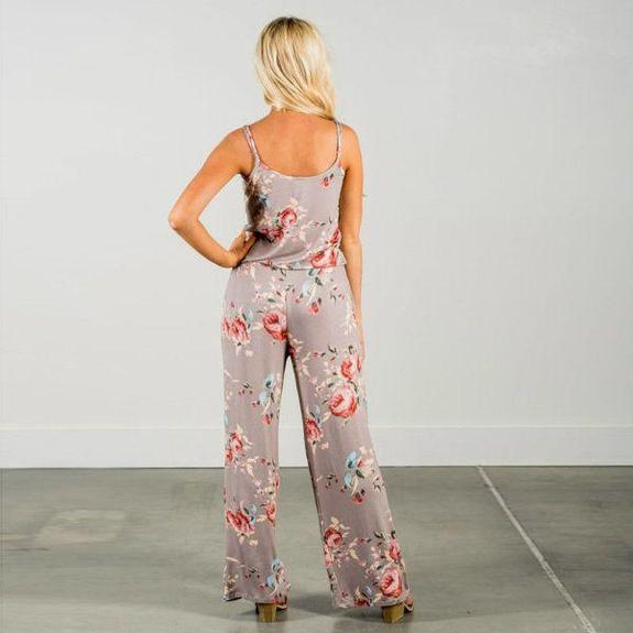 Daily Steals-Floral Pant Romper-Women's Apparel-Beige-Small-