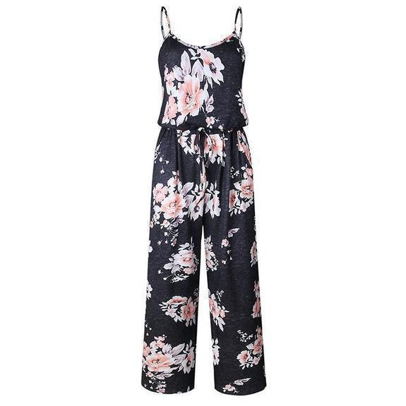 Daily Steals-Floral Pant Romper-Women's Apparel-Black-2X-