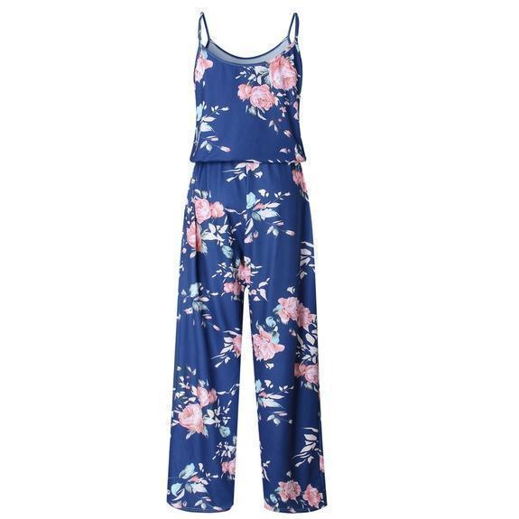 Daily Steals-Floral Pant Romper-Women's Apparel-Blue-Small-